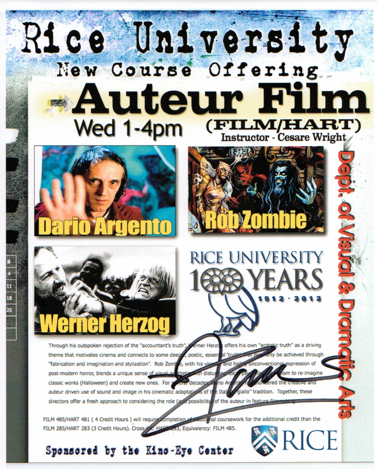 zombie signed poster